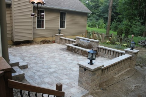 This Patio I Built Features A Colorfalls Waterfall, Unilock Stonehenge  Pavers, Unilock Brussels Dimensional Walls, Pillars With Lights.