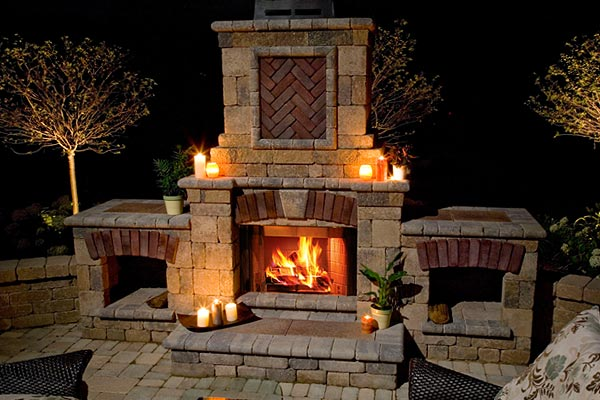 Outdoor fireplaces outdoor fireplaces columbus ohio Deck fireplace designs