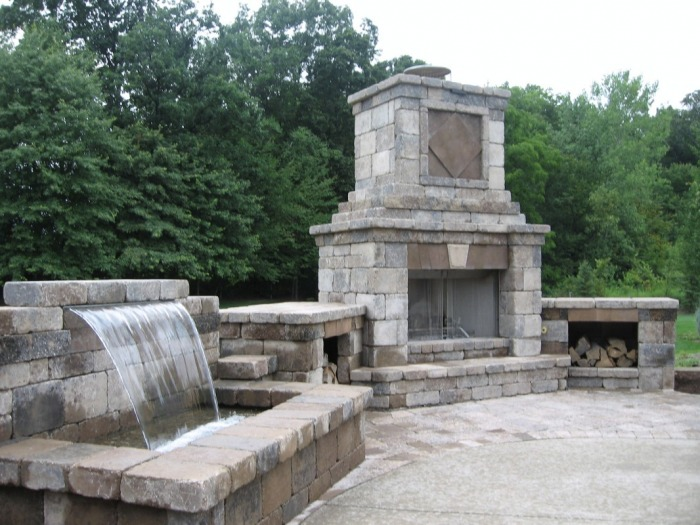 Hilliard Outdoor Fireplace And Waterfall   Hilliard Paver Patio Contractor